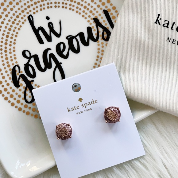 9f23d95949b83 Kate Spade Pink Glitter Round Stud Earrings NWT NWT